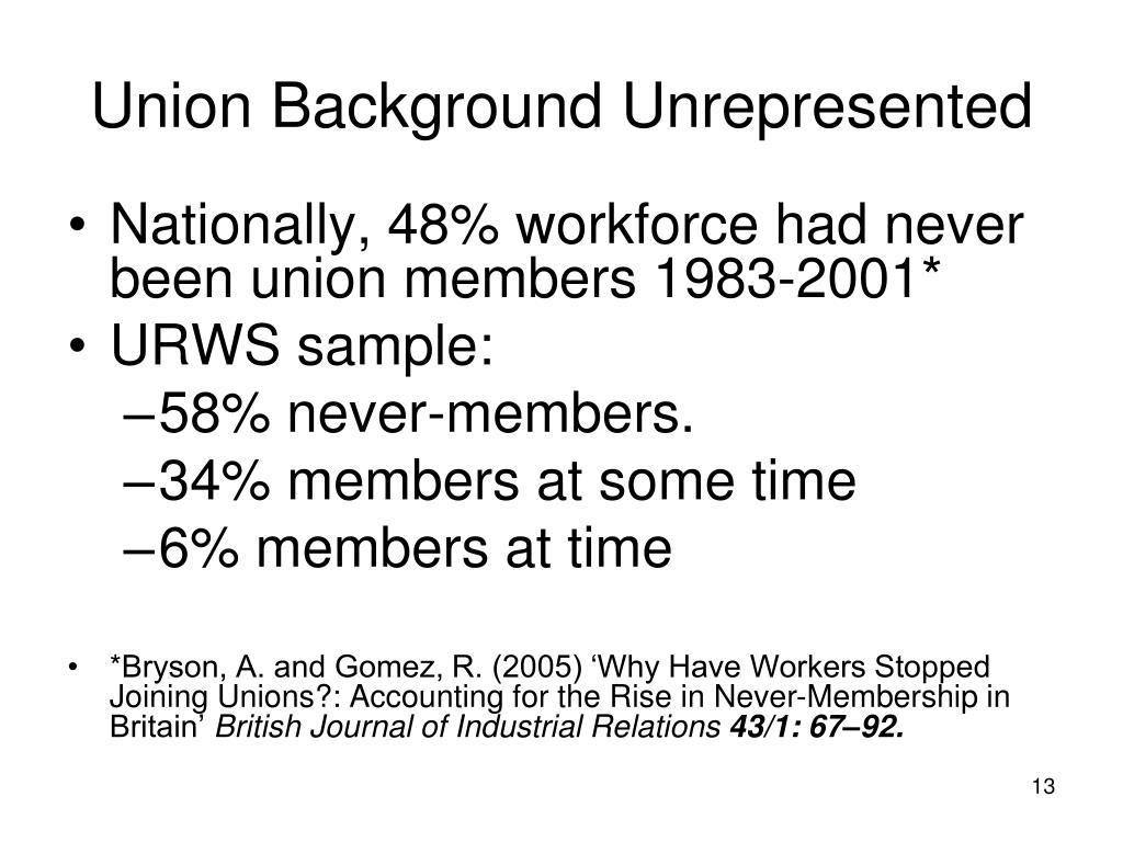 Union Background Unrepresented