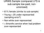 urws sample compared lfs sub sample low paid non unionised