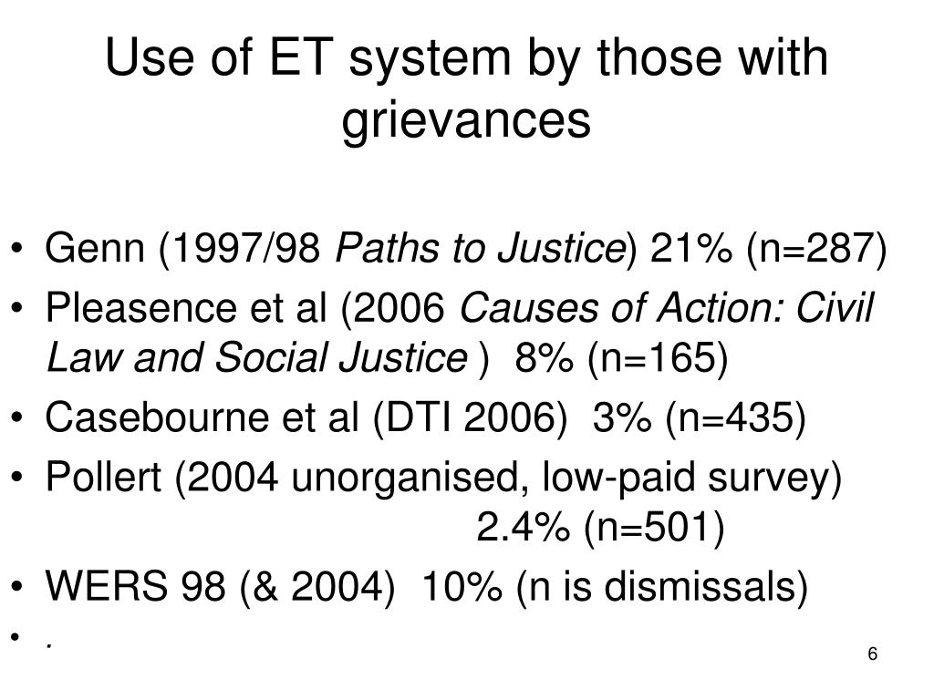 Use of ET system by those with grievances