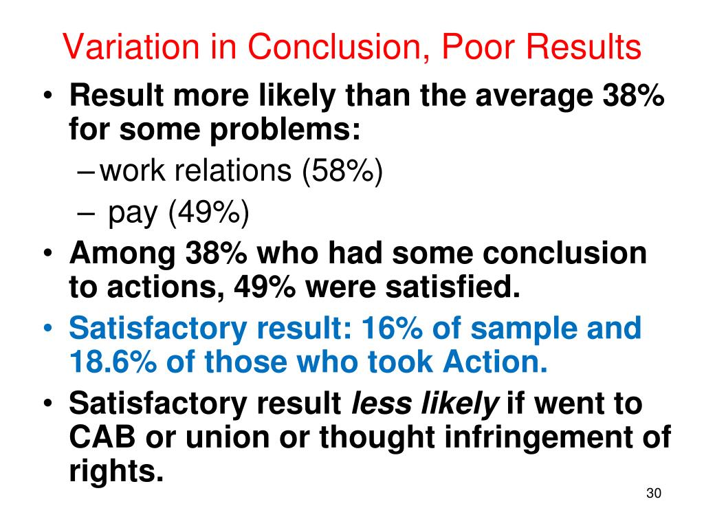 Variation in Conclusion, Poor Results