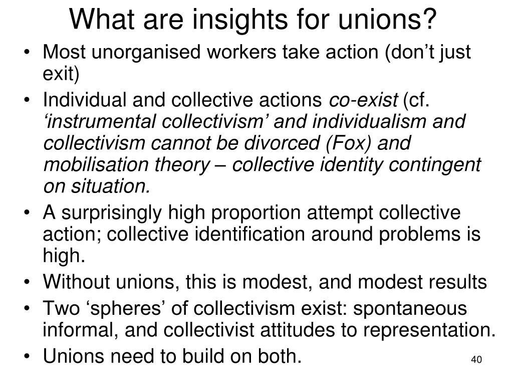 What are insights for unions?