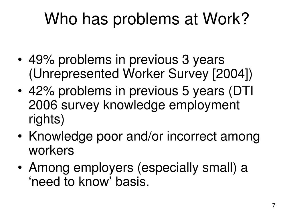 Who has problems at Work?