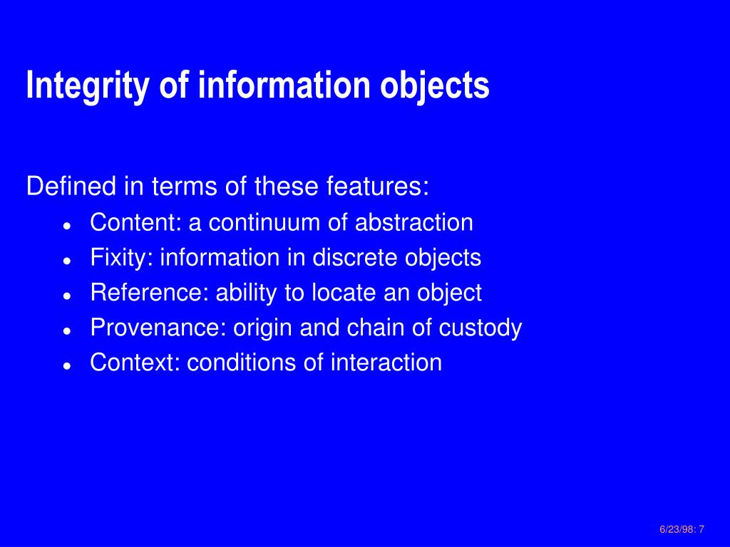 Integrity of information objects