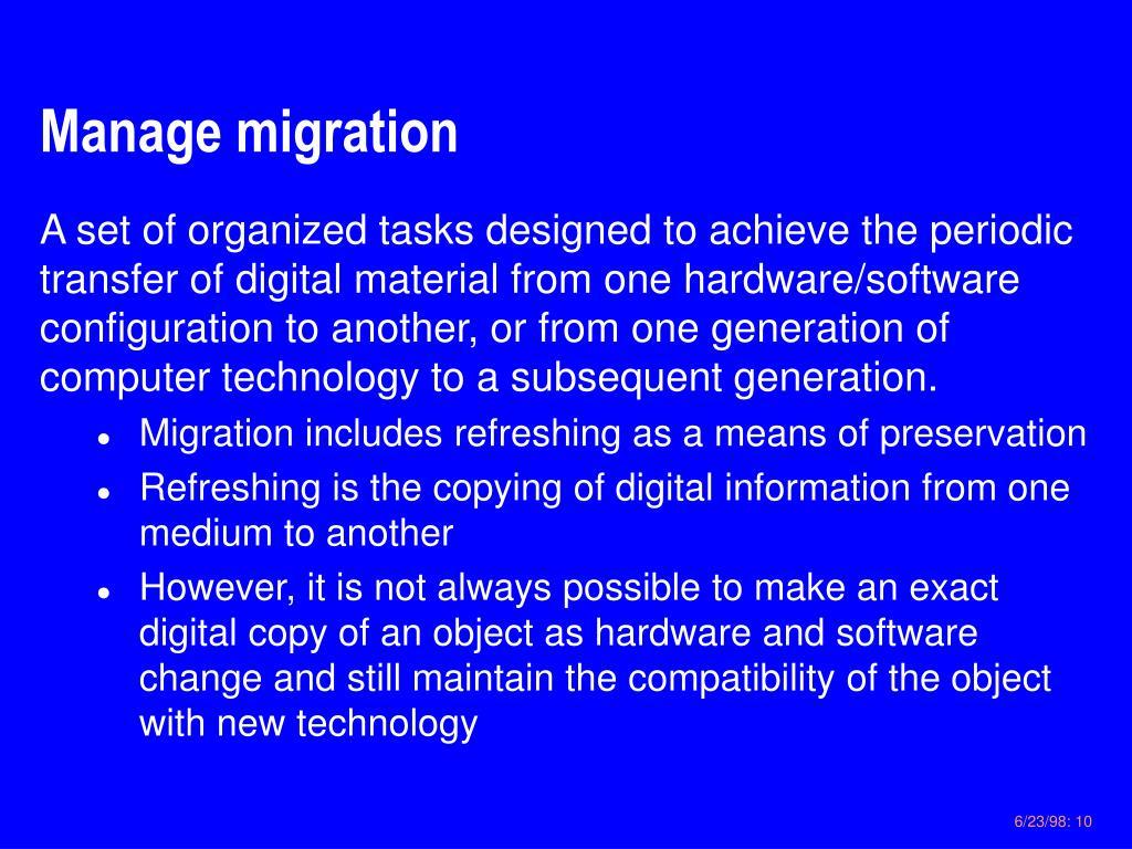 Manage migration