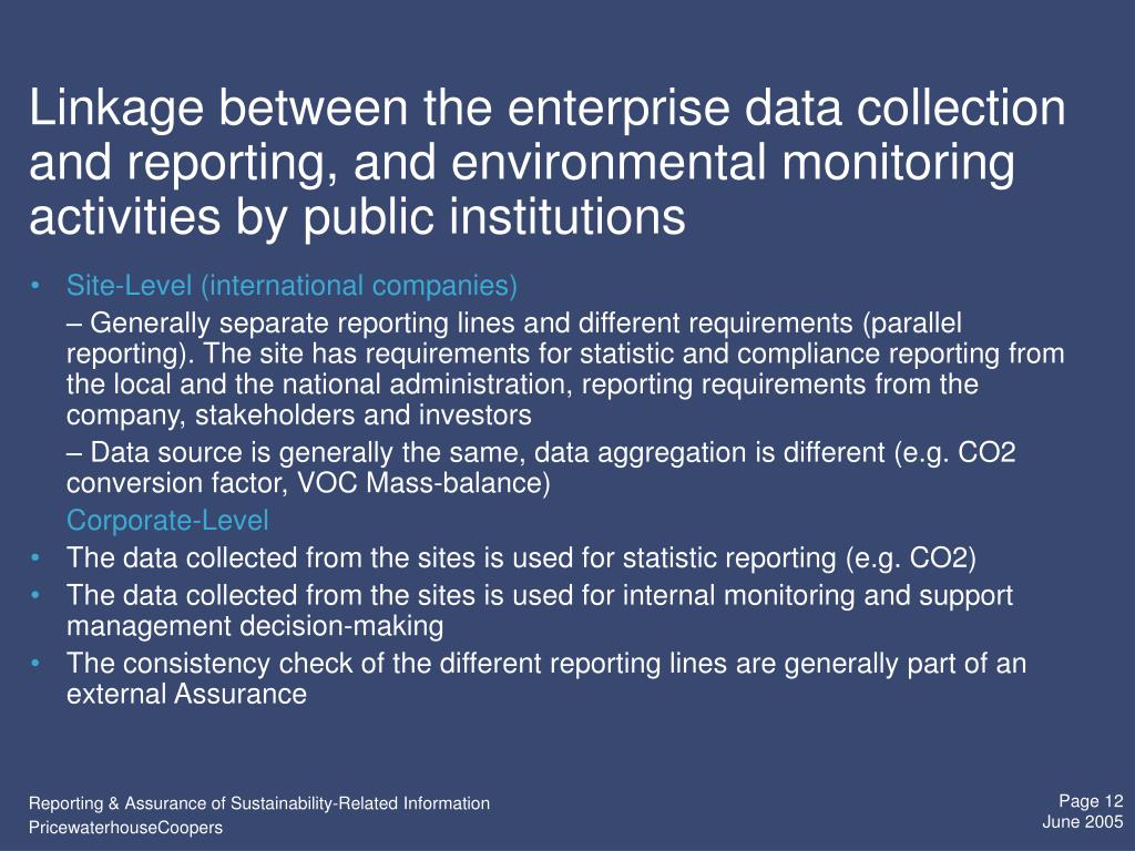Linkage between the enterprise data collection and reporting, and environmental monitoring activities by public institutions
