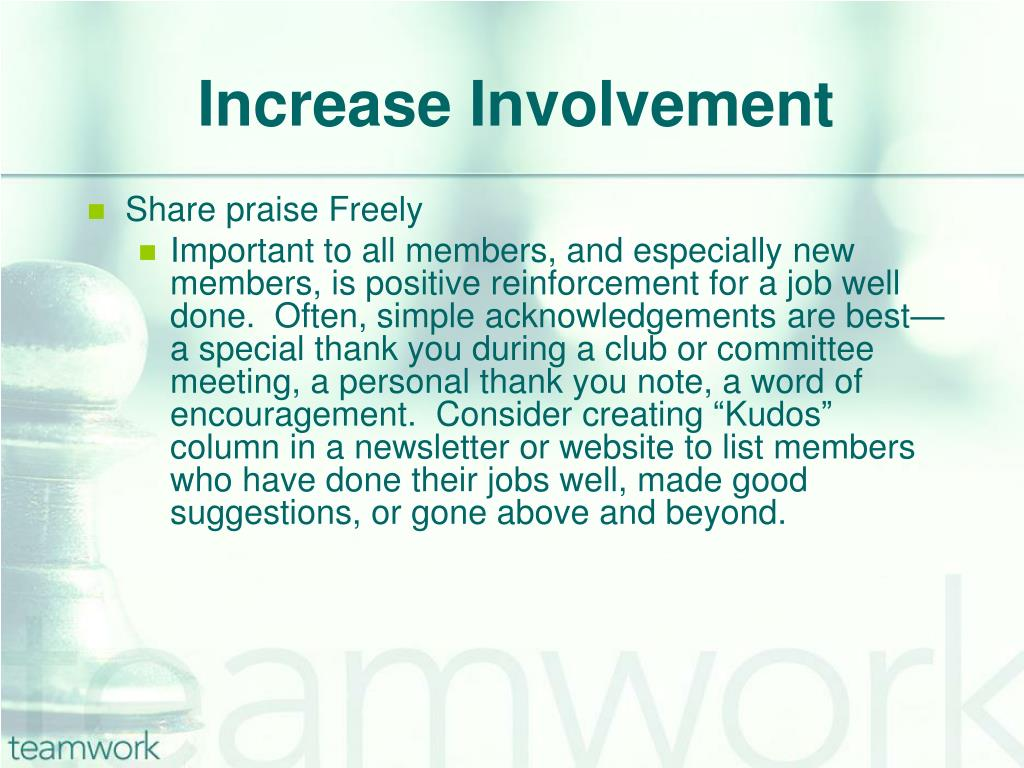 Increase Involvement