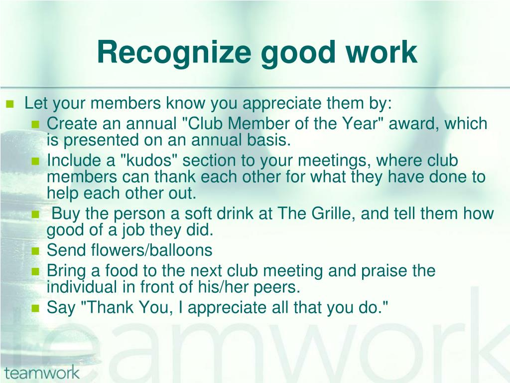 Recognize good work