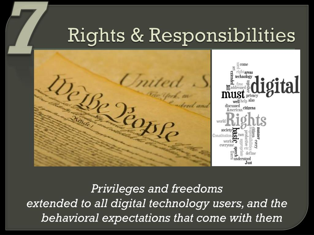rights and responsibilities Rights vs responsibilities there is a common misconception about the interpretation of rights and responsibilities at first glance, it would seem that the two terms are interchangeable.