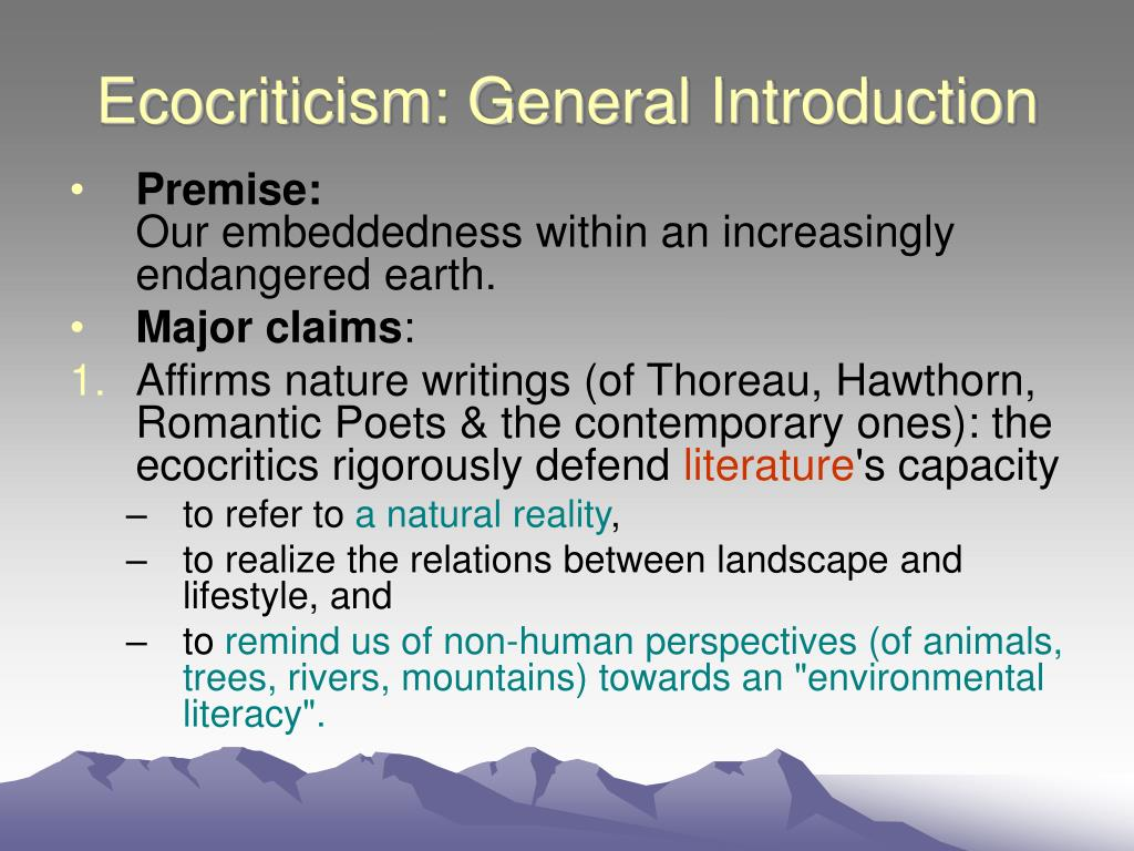 Ecocriticism: General Introduction