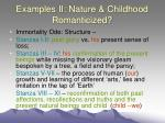 examples ii nature childhood romanticized