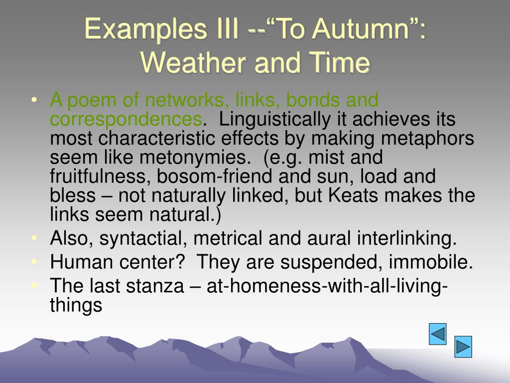 """Examples III --""""To Autumn"""": Weather and Time"""