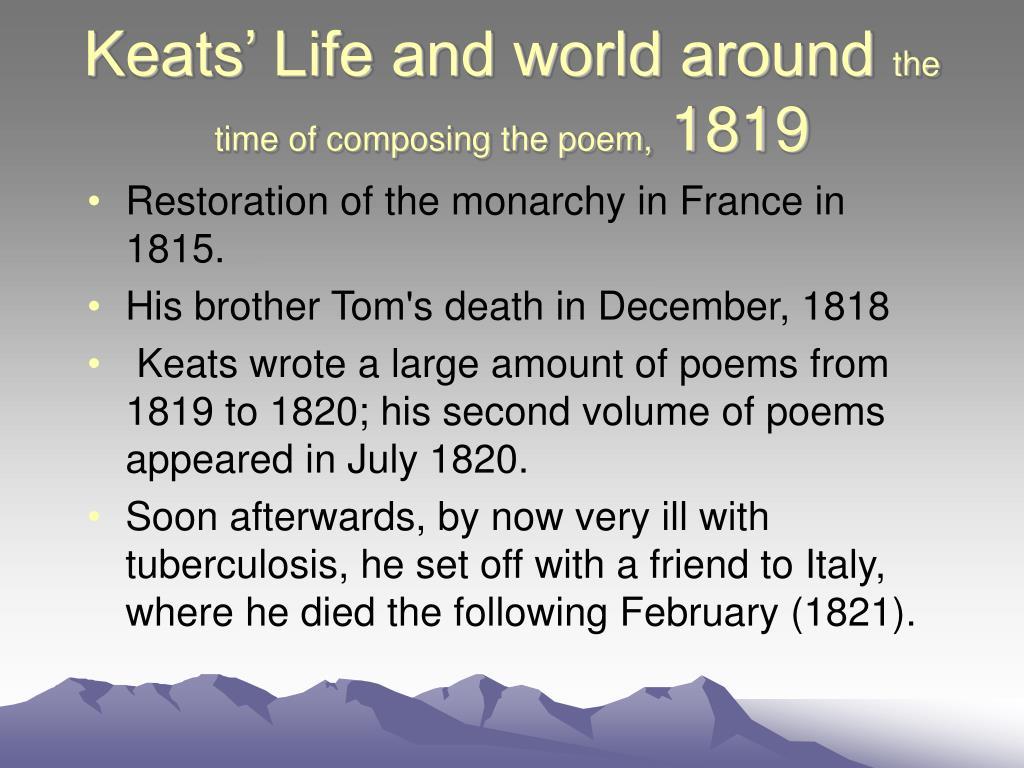 Keats' Life and world around