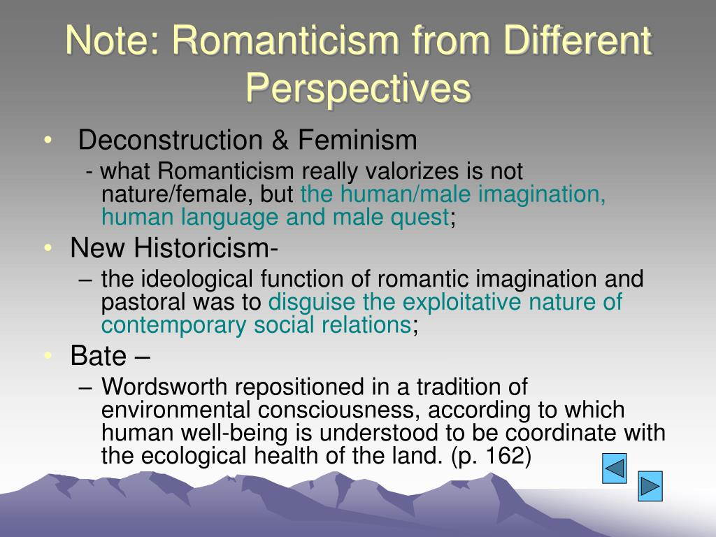 Note: Romanticism from Different Perspectives