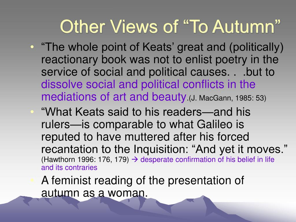 """Other Views of """"To Autumn"""""""