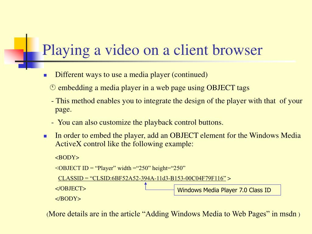 Playing a video on a client browser