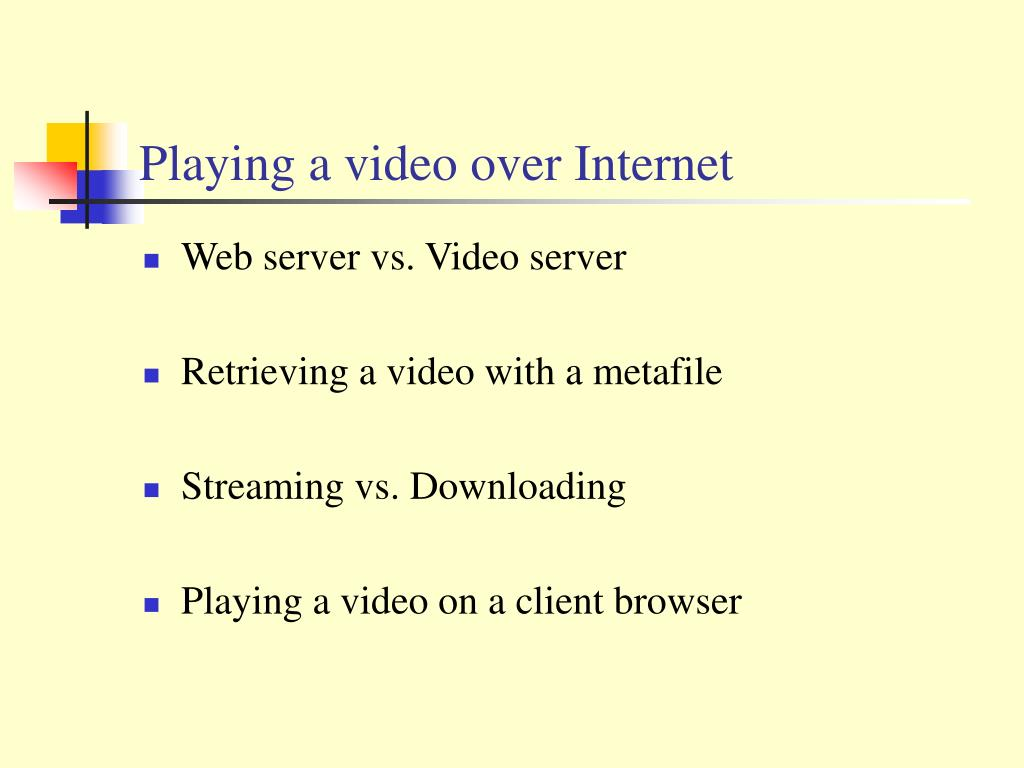 Playing a video over Internet