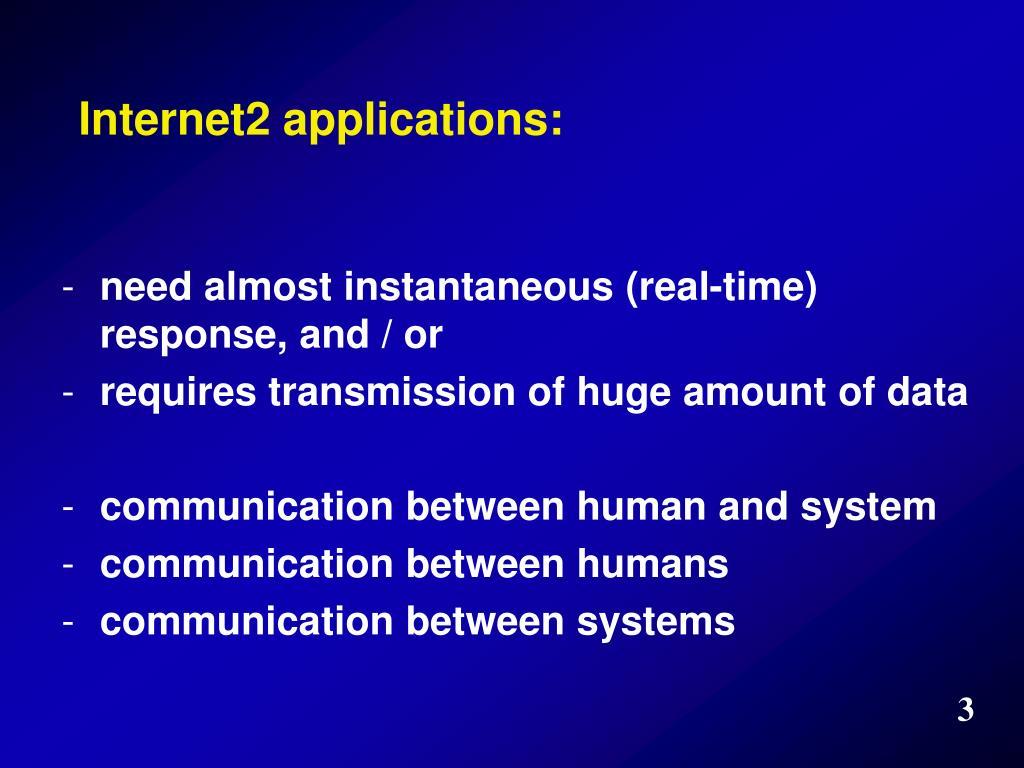 Internet2 applications: