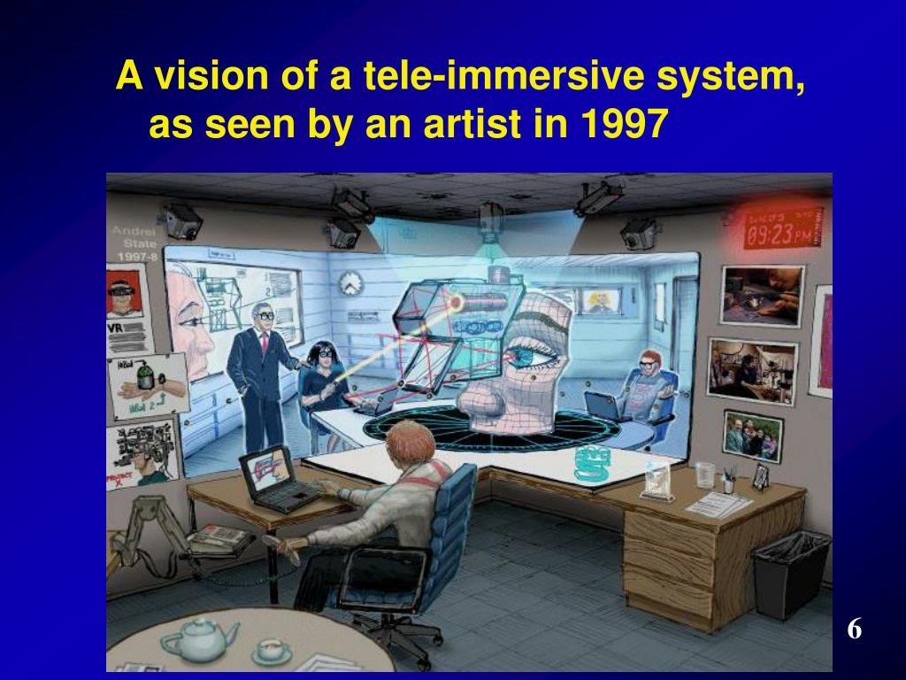 A vision of a tele-immersive system, as seen by an artist in 1997