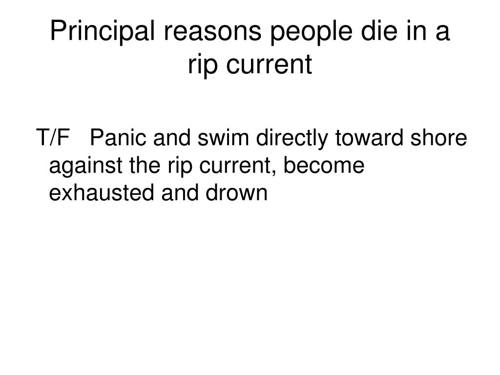 Principal reasons people die in a rip current