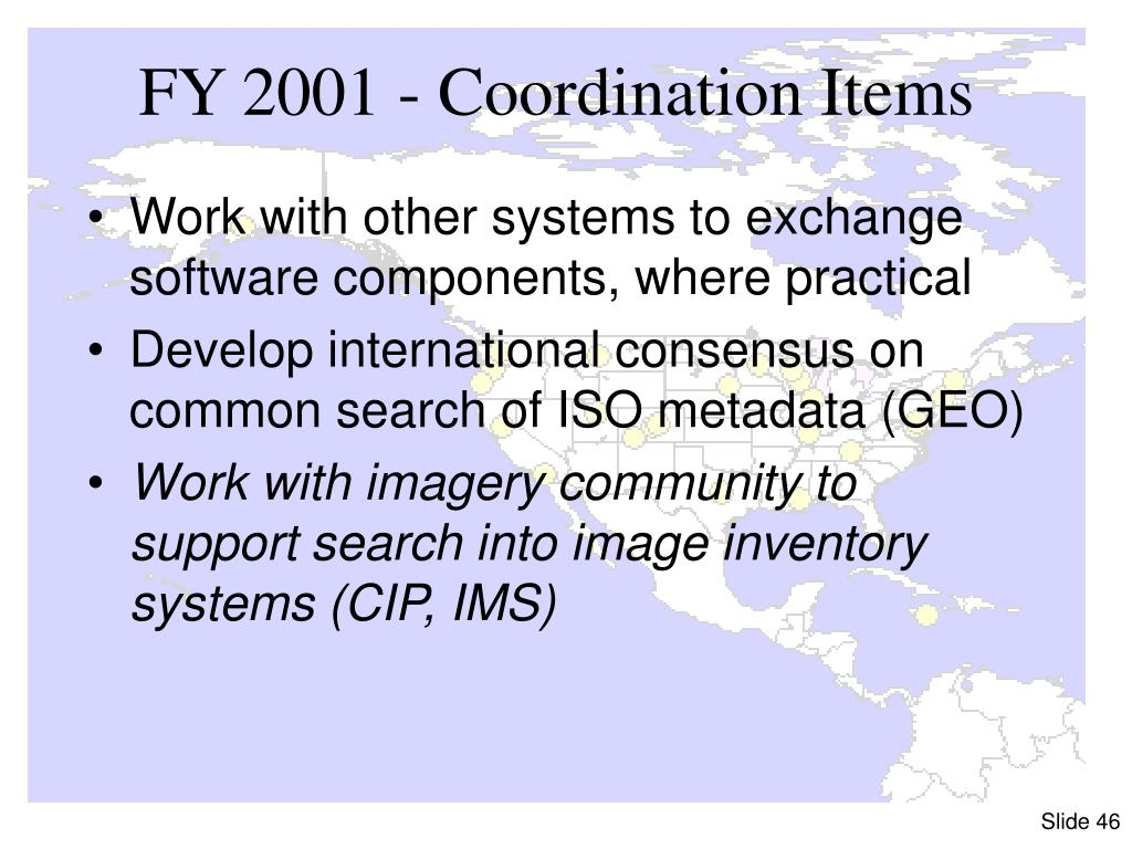 FY 2001 - Coordination Items
