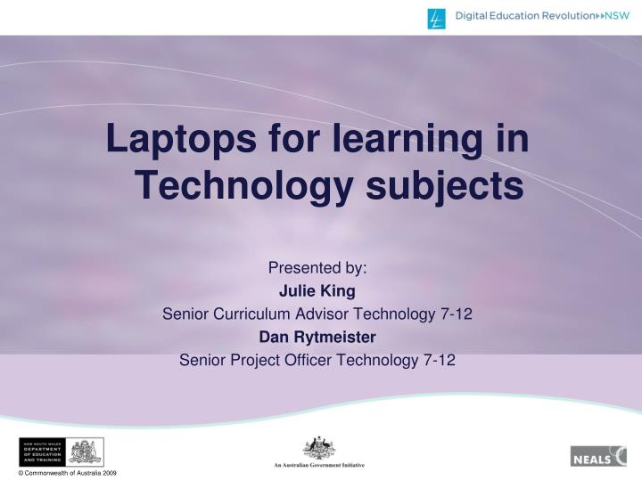 Laptops for learning in Technology subjects