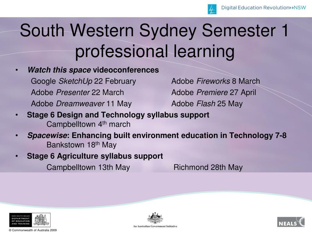 South Western Sydney Semester 1