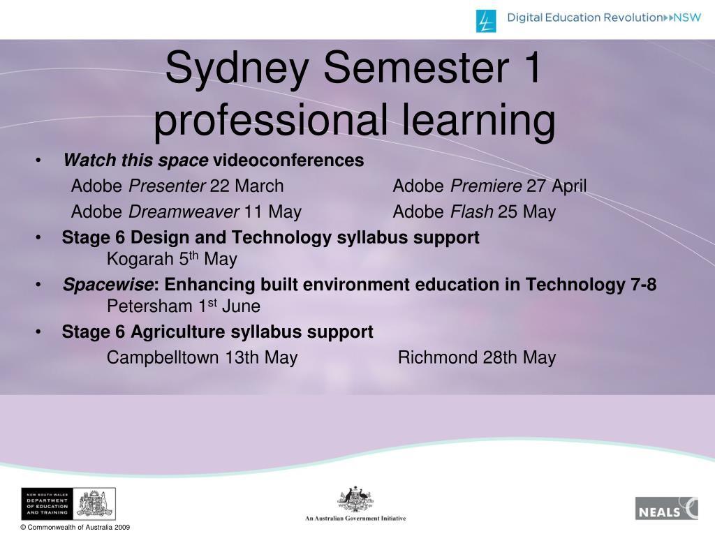Sydney Semester 1