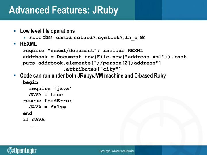 Advanced Features: JRuby