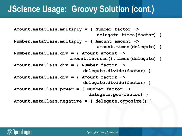 JScience Usage:  Groovy Solution (cont.)