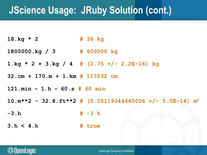 JScience Usage:  JRuby Solution (cont.)