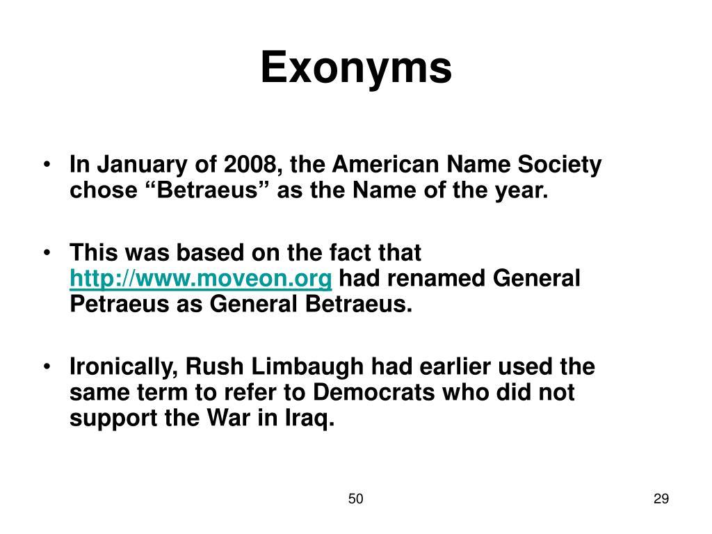 Exonyms