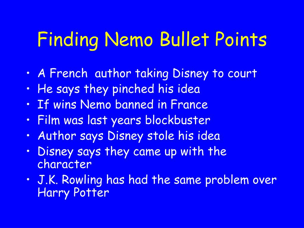 Finding Nemo Bullet Points