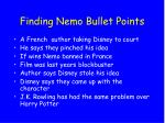 finding nemo bullet points