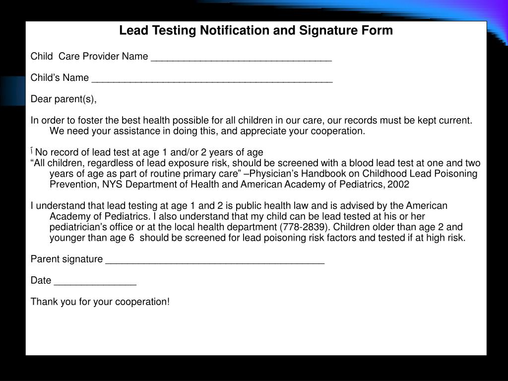 Lead Testing Notification and Signature Form