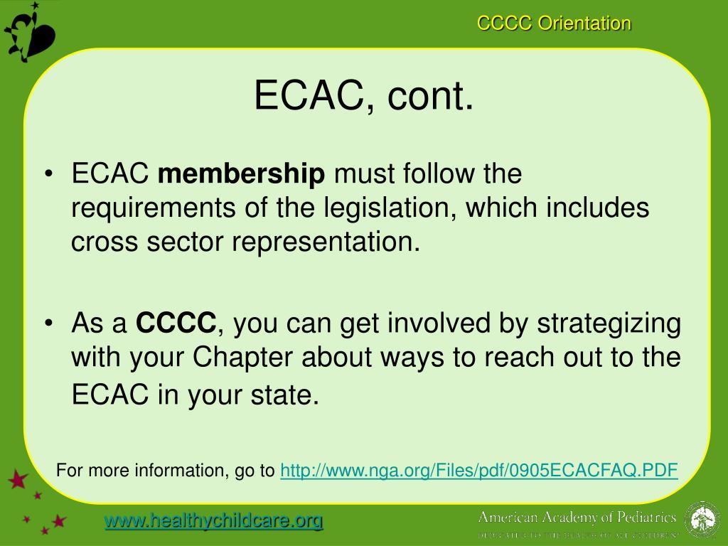 ECAC, cont.