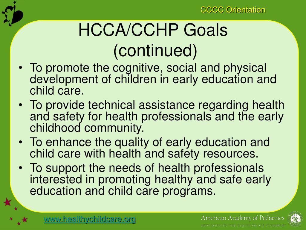 HCCA/CCHP Goals
