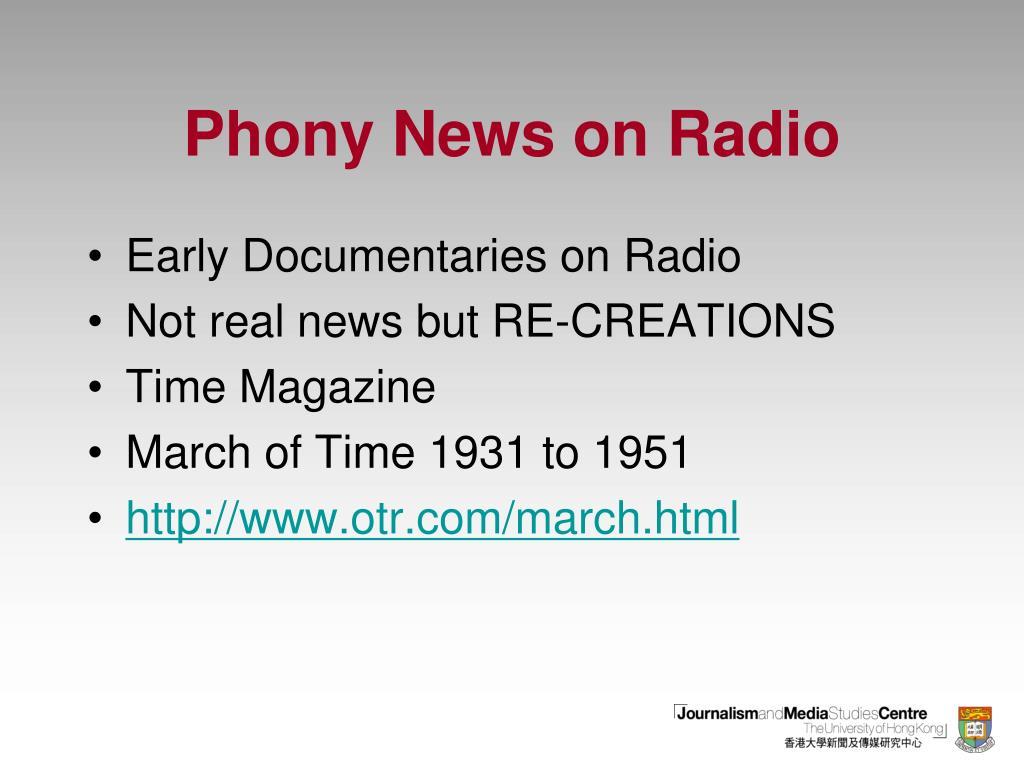 Phony News on Radio