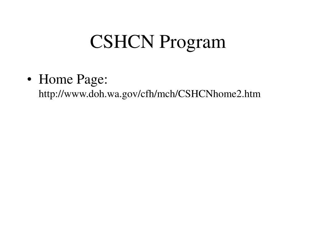 CSHCN Program