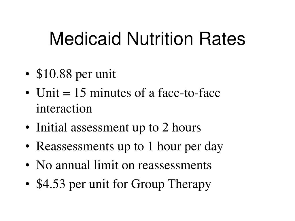 Medicaid Nutrition Rates