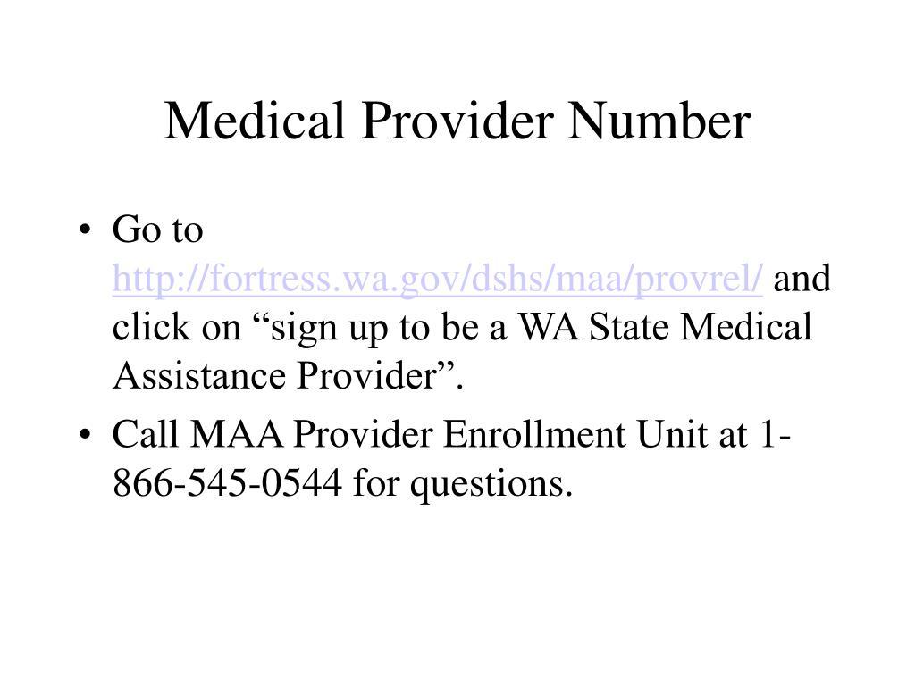 Medical Provider Number