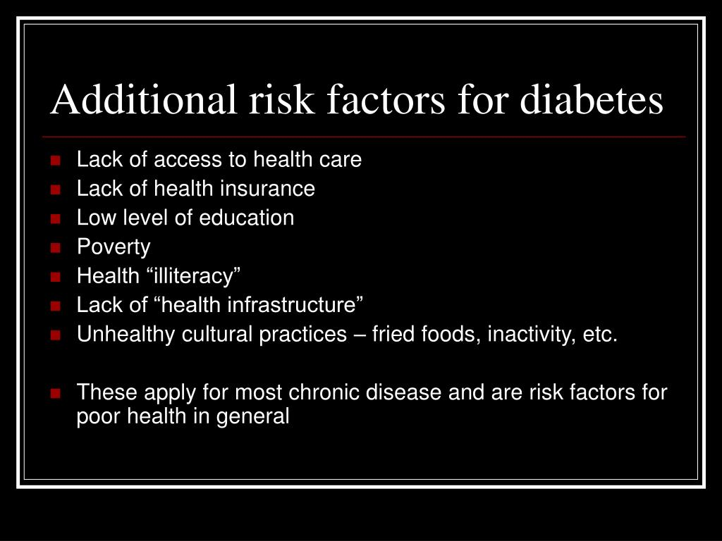 Additional risk factors for diabetes