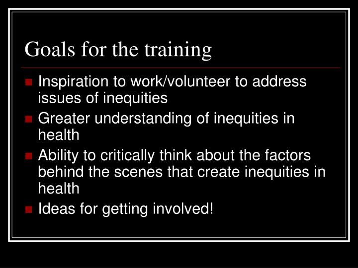 Goals for the training