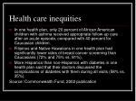 health care inequities28