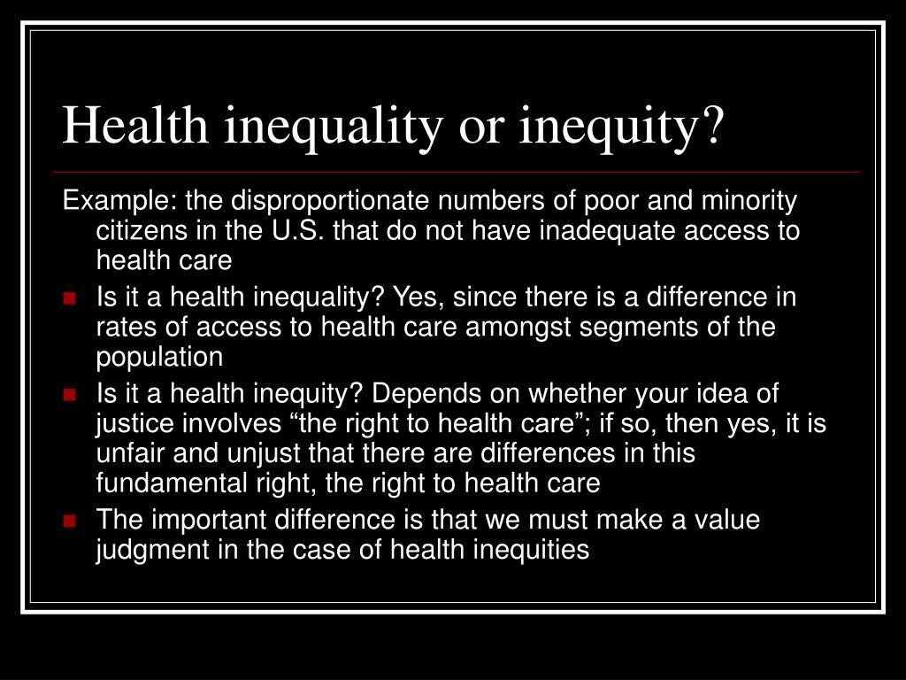 Health inequality or inequity?