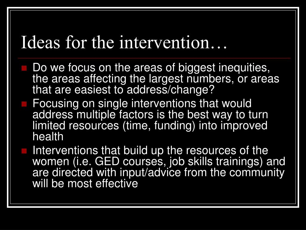 Ideas for the intervention…