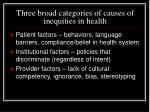 three broad categories of causes of inequities in health