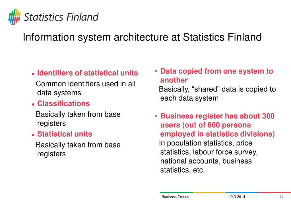 Information system architecture at Statistics Finland