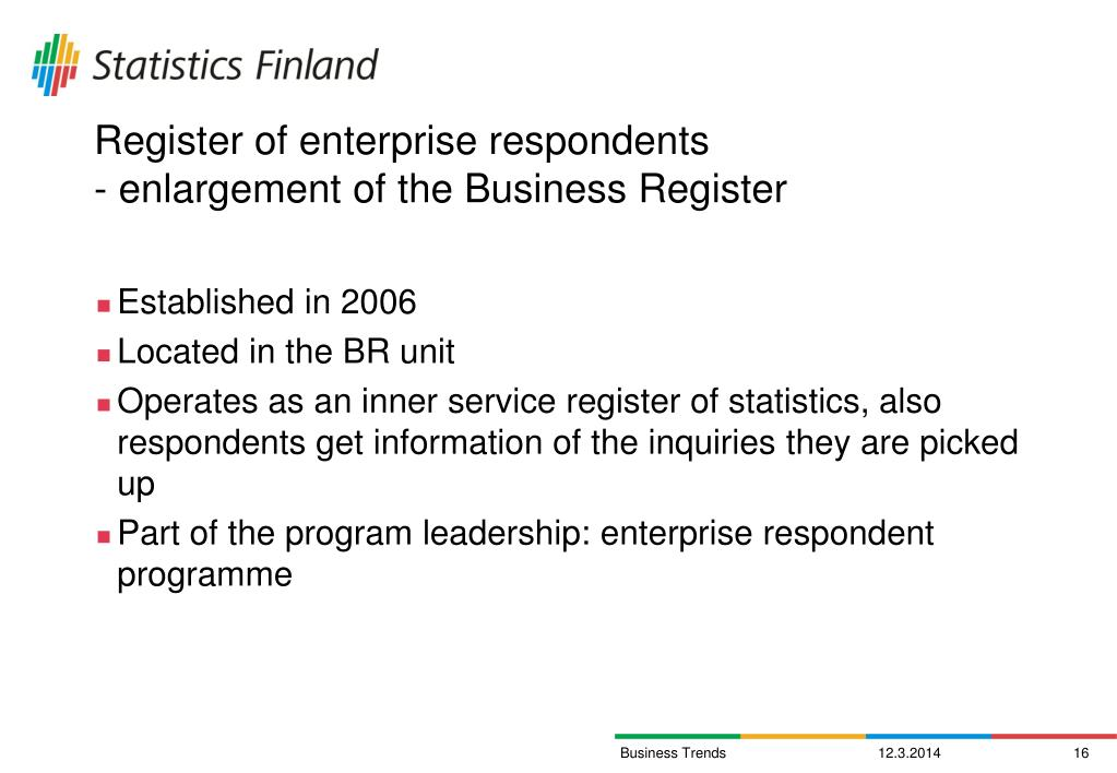 Register of enterprise respondents
