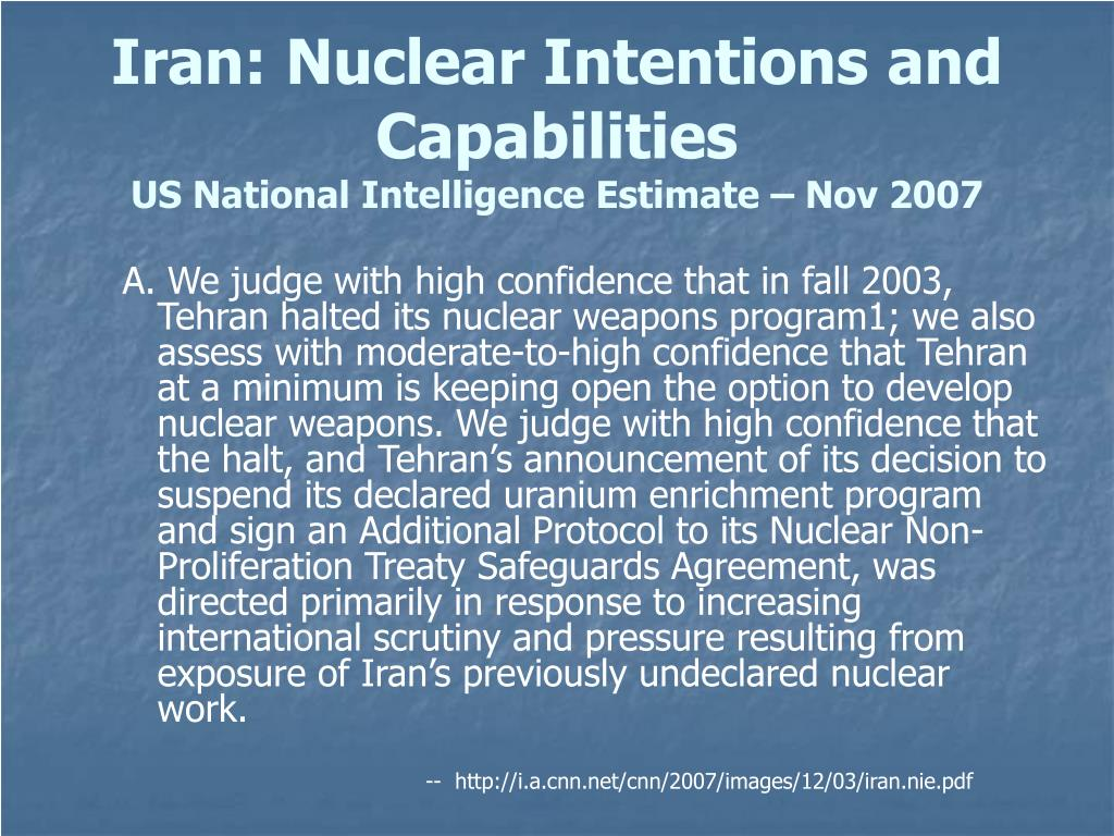 Iran: Nuclear Intentions and