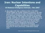 iran nuclear intentions and capabilities us national intelligence estimate nov 2007